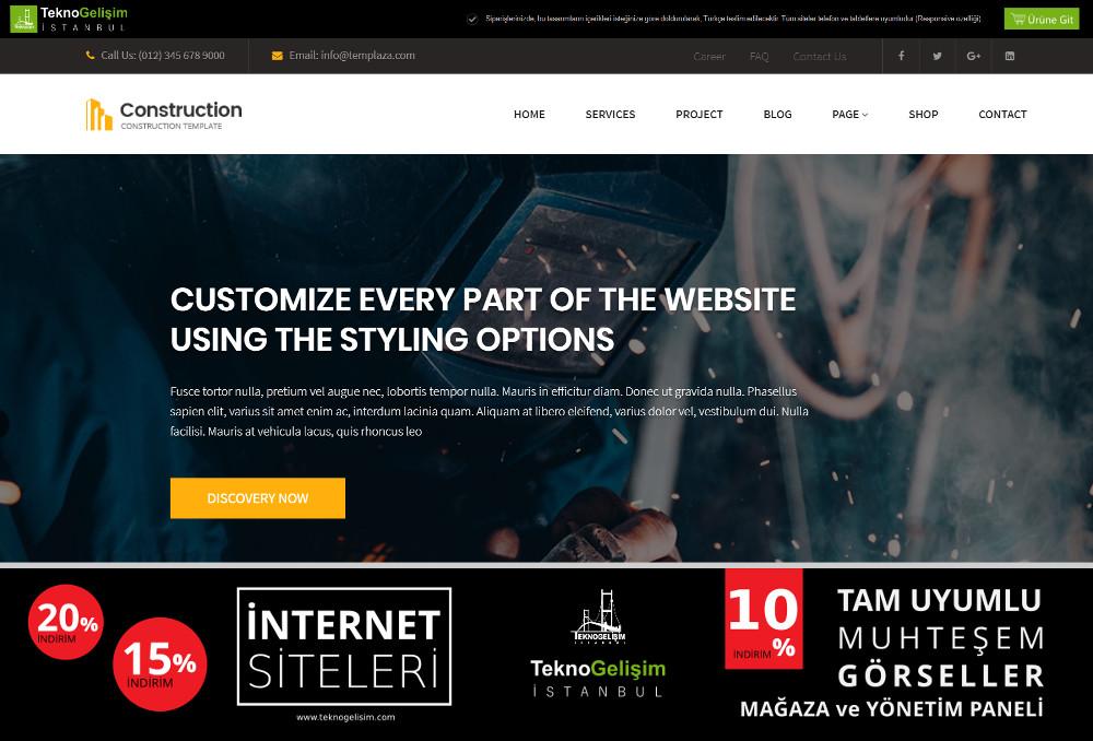 Ürün Tanıtımlı Site Sektöre Özel Tasarım 45 (Yan Menülü)
