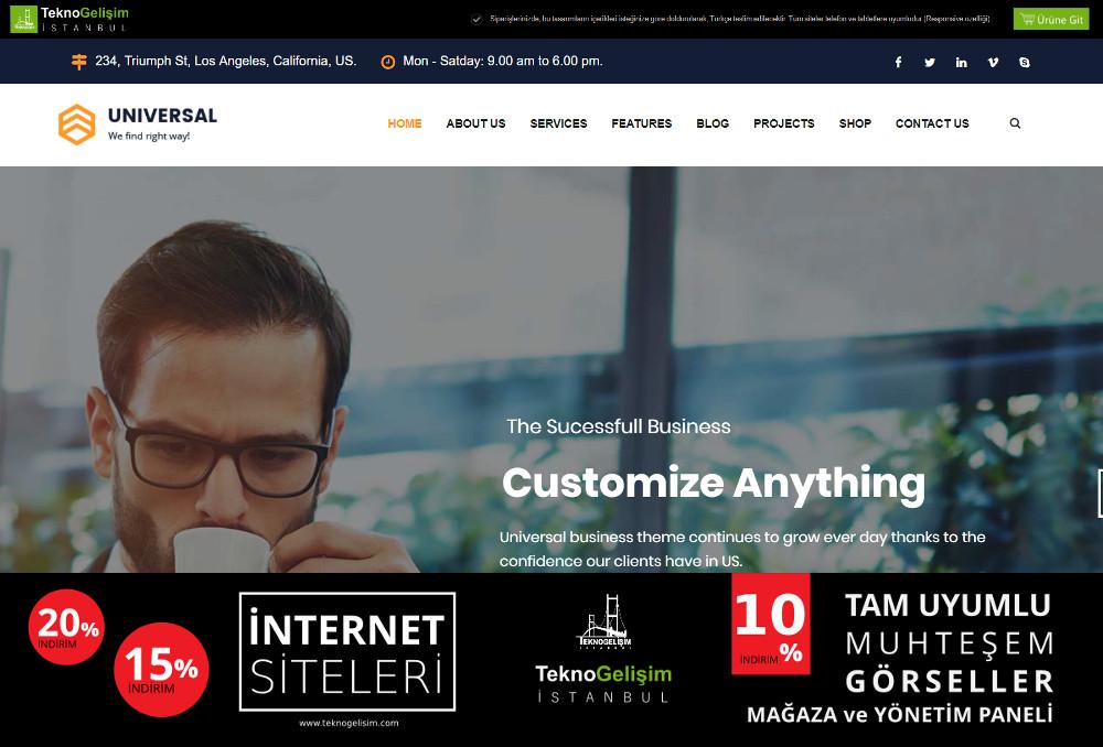 Ürünlü Sektöre Özel Tasarım 07 - Kurumsal Site (Tam Tanıtım Görünümlü)