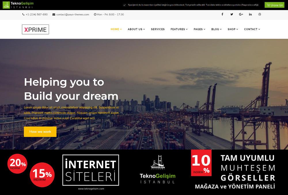 Ürünlü Sektöre Özel Tasarım 48 - Kurumsal Site (Tam Tanıtım Görünümlü)