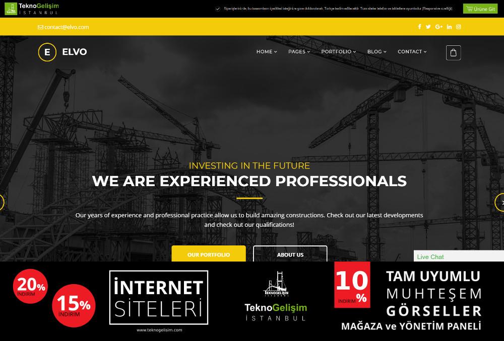 Ürünlü Sektöre Özel Tasarım 49 - Kurumsal Site (Tam Tanıtım Görünümlü)