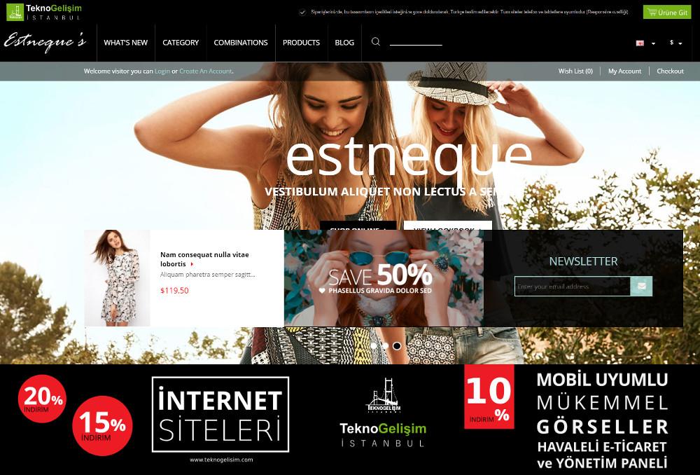 E-Ticaret Sitesi Estetik Tasarım 06 (Tam Ekranlı Anasayfa)