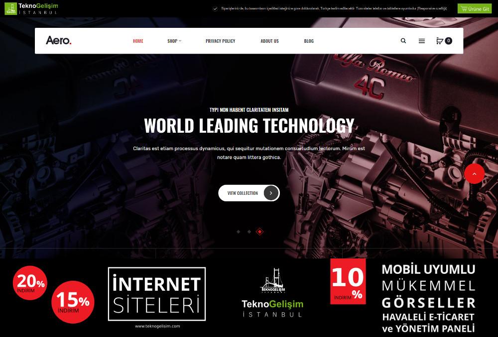 E-Ticaret Sitesi Estetik Tasarım 08 (Yan Menülü)