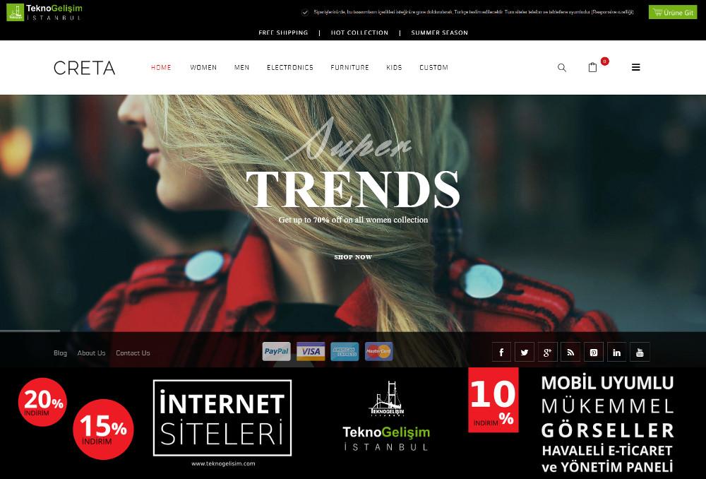 E-Ticaret Sitesi Estetik Tasarım 11 (Tam Ekranlı Anasayfa)