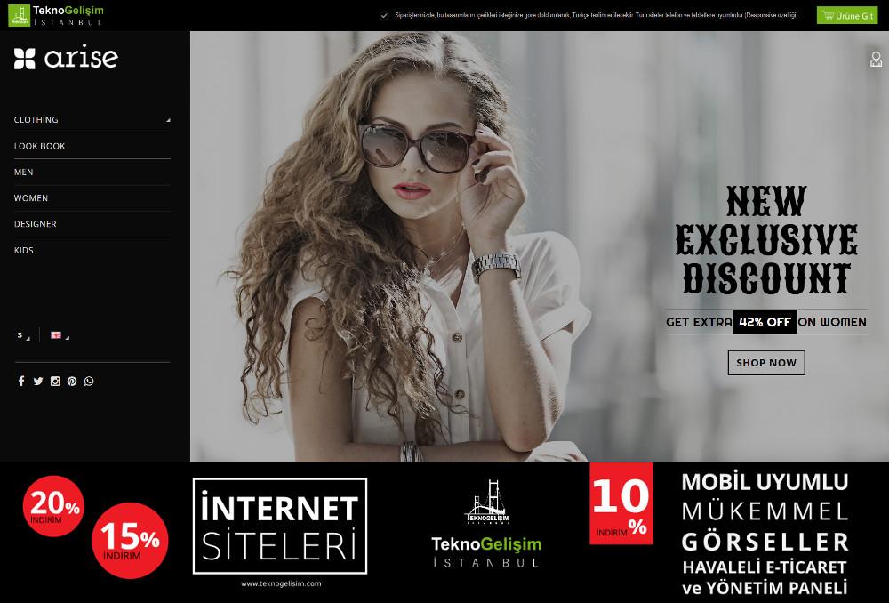 E-Ticaret Sitesi Estetik Tasarım 16 (Yan Menülü)