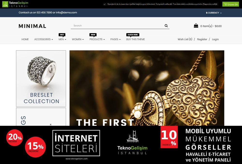 E-Ticaret Sitesi Sektöre Özel Tasarım 12 (Tam Ekranlı Anasayfa)